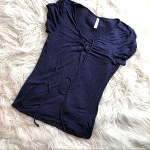 Navy Lace Up Short Sleeve Tee, Fitted